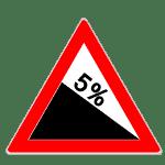 Zeichen 108-50: Gefälle 5 Prozent