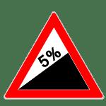 Zeichen 110-50: Steigung 5 Prozent