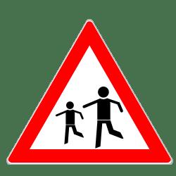 Auch das Verkehrszeichen 136 für spielende Kinder ist einen Gefahrzeichen.