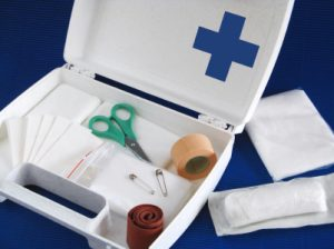 Eine Kfz-Verbandtasche oder ein Verbandskasten sollten wichtige Utensilien für die Erstversorgung enthalten.