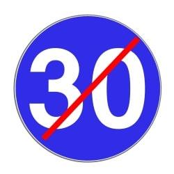 Dieses Schild beendet die Mindestgeschwindigkeit.