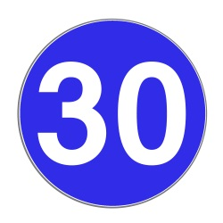 Die StVO regel die Geschwindigkeitsbregrenzung und deren Aufhebung. Das blaue Schild bedeutet Mindestgeschwindigkeit.